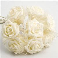 Flowers. Ivory 5cm Glitter Foam Rose with Iridescent Tulle. Flower head height 4cm/1.5inches. Flower