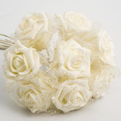 Flowers, Ivory 5cm Glitter Foam Rose with Iridescent Tulle. Flower head height 4cm/1.5inches. Flower