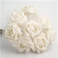 Flowers. White 5cm Glitter Foam Rose with Iridescent Tulle. Flower head height 4cm/1.5inches. Flower