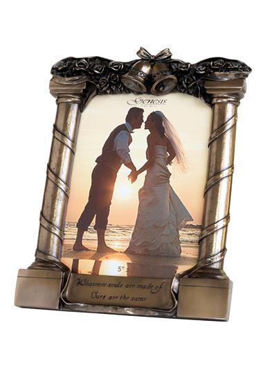 Photography, Cast bronze Genesis Wedding Frame. Height: 9.5 inches, width: 7.5 inches.