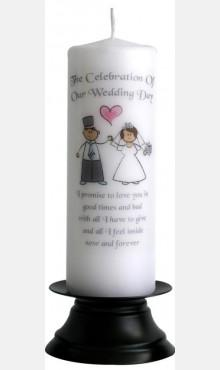 Decor & Event Styling, Happy Ever After Wedding Candle White and silver 22cm