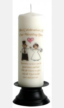Decor & Event Styling, Happy Ever After Wedding Candle Ivory and Gold 22cm