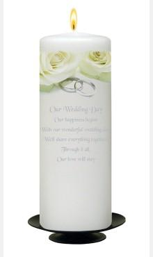 Decor & Event Styling, White Wedding Candle With Rose and Silver Rings Design
