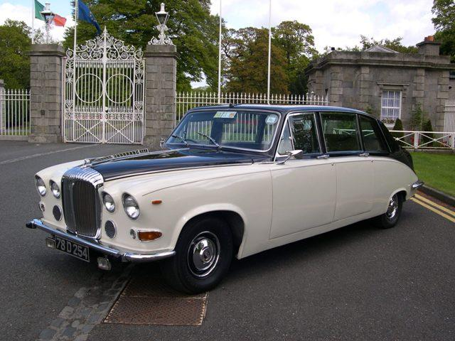 Chauffeurs, Daimler DS420 Limousine in black and ivory. Other vehicles available. Service offered th