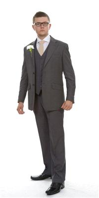 Attire. Rome Grey Plain Wool (ref. 10-Z602). Mid grey suit in a classic cut with black lining.