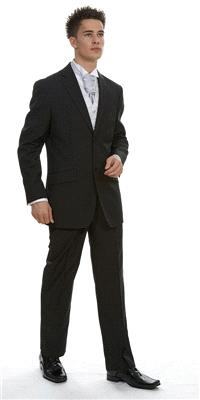 Attire. Rome Black Plain Polyviscose (ref. 11-455.3.B). Black suit, sharply fitting, vented back to