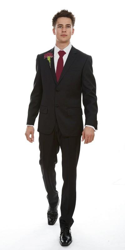 Attire, London Grey Plain Super 120 Wool (Ref. 12-327006-1). Slim-cut suit available as a 2 or a 3 p