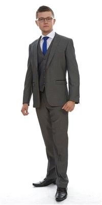Attire. London Grey Plain Polyviscose (Ref. 12-361-A1). Grey-coloured suit, moulded fit to accentuat