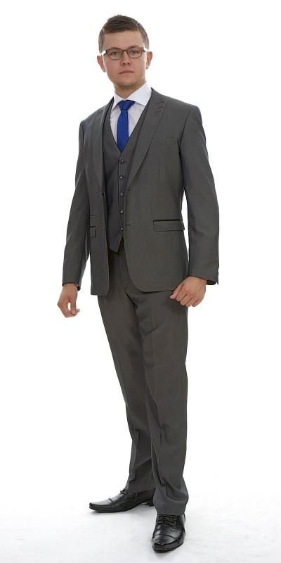 Attire, London Grey Plain Polyviscose (Ref. 12-361-A1). Grey-coloured suit, moulded fit to accentuat