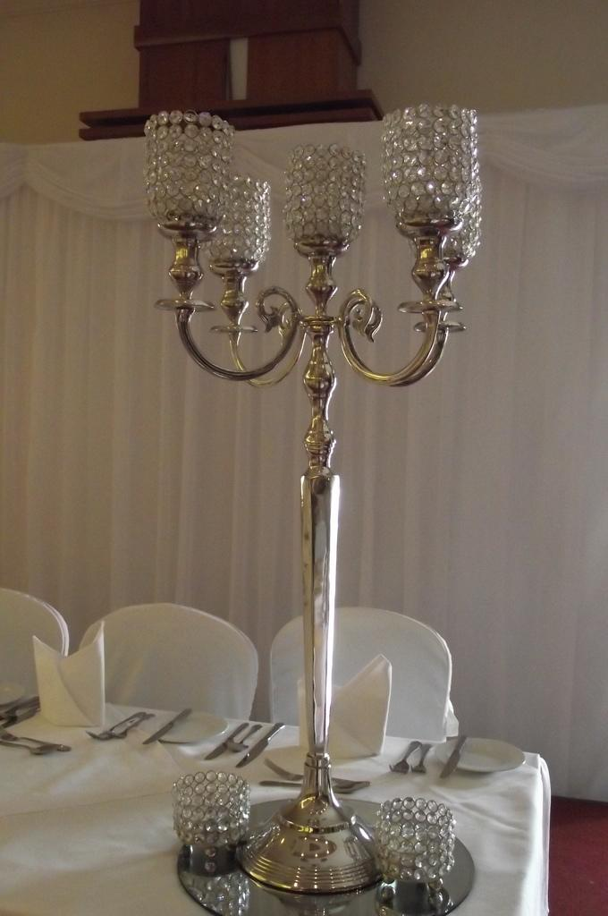 Candelabras, Traditional candelabra with a diamante candle holder.