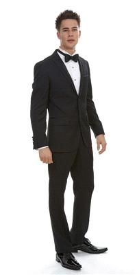 Attire. London Black Plain Wool (Ref. 12-I-241). Moulded-cut wool Tuxedo which features a cropped ja