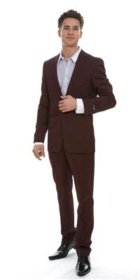 Attire. London Other Pinstripe Wool (Ref. SD10845BU). Slim-cut suit. Jacket has a vented back, with