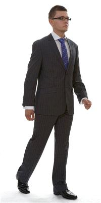 Attire. London Grey Pinstripe Wool (Ref. VC76625BU). Vincere grey charcoal pinstripe suit.