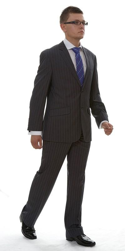 Attire, London Grey Pinstripe Wool (Ref. VC76625BU). Vincere grey charcoal pinstripe suit.