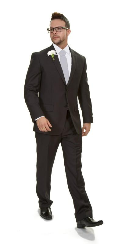 Attire, Rome Grey Plain Wool Blend (Ref. VCV302BU). Vincere plain grey charcoal suit. A classically-