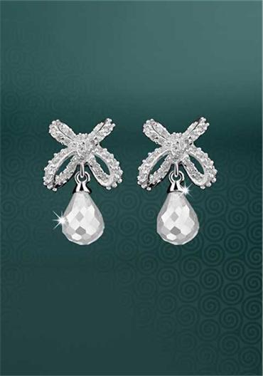 Jewellery, Newbridge Maureen O' Hara Earrings Clear Drop Stone