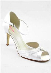 Attire. Aimee Ivory Satin Shoes. Two-piece peep toe shoe with supportive closed back and dainty ankl