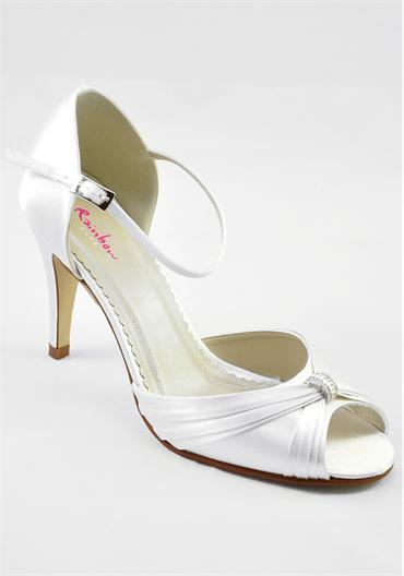 Attire, Aimee Ivory Satin Shoes. Two-piece peep toe shoe with supportive closed back and dainty ankl