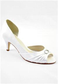Attire. Amelie Ivory Satin Shoes. Open-waisted peep toe shoe finished with refined pleats and a crys