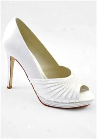 Attire. Carys Ivory Satin Shoes. Platform peep toe ivory high-heel wedding shoe adorned with luxurio