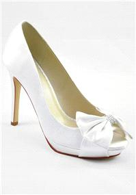 Attire. Coral Ivory Satin Shoes. Peep-toe platform shoe finished with a beautiful bow with swarovski