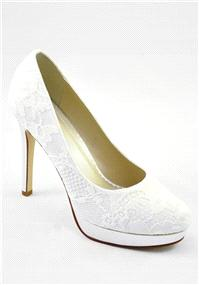 Attire. Ella Ivory Satin Shoes. Platform court shoe covered in dyeable ivory lace. Heel height: 11.5