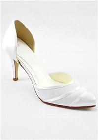 Attire. Else By Rainbow Toscana Ivory Satin Shoes. Open-waisted court shoe with serene overlayed det