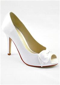 Attire. Katherine Ivory Satin Shoes. Peep toe with concealed platform and dainty single sided bow. H
