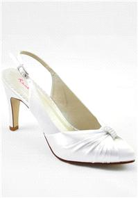 Attire. Marilyn Ivory Satin Shoes. 50s-style slingback finished with refined pleats, vintage style d