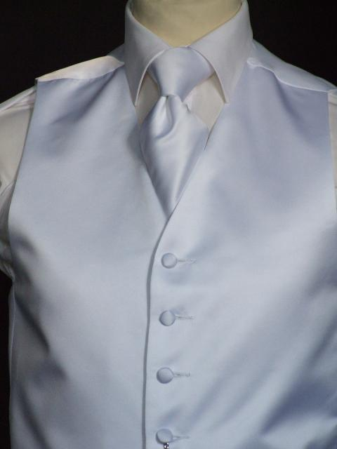 Attire, Anthony Crystal White Wedding Waistcoat Large. May be worn with a cravat or tie.