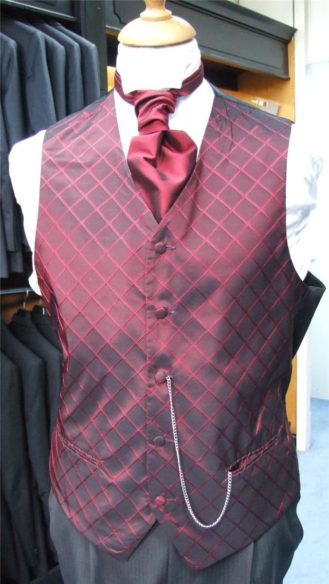 Attire, Bordeaux Evening Burgundy Waistcoat. May be worn with a cravat or tie.