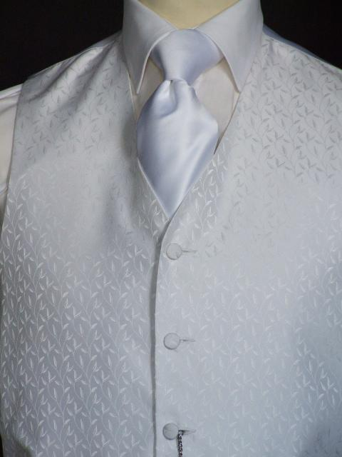 Attire, Dali Winterwhite Wedding Waistcoat Large. May be worn with a cravat or tie.