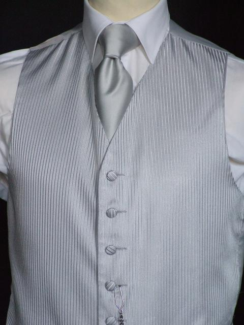 Attire, Tenby Silver Grey Wedding Waistcoat Large. May be worn with a cravat or tie.