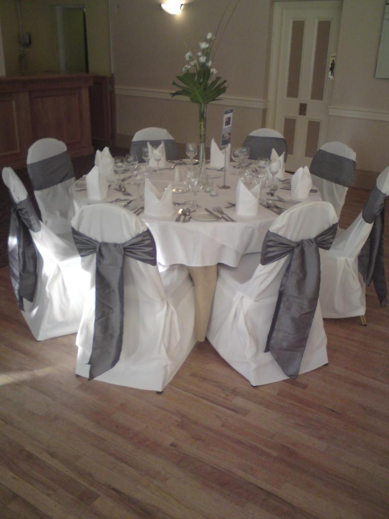 chair covers white chair covers with a dark grey satin sash
