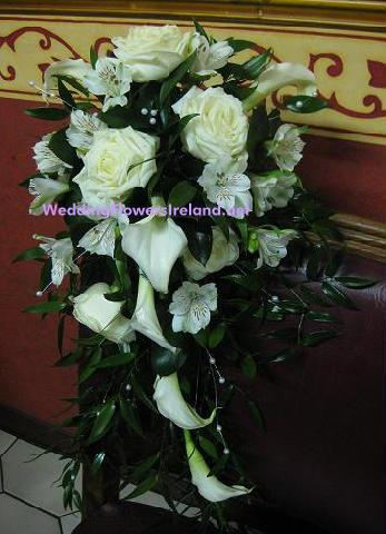 Flowers, Bridal Shower bouquet with callas, roses and pearl-strand detailing. Wedding packages avail