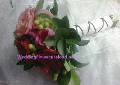 Flowers, _Red and Mauve_ bouquet (satin and ballerina wrapped). Wedding packages available.