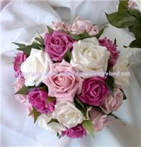 Flowers. Mixed-pink rose bouquet. Wedding packages available.