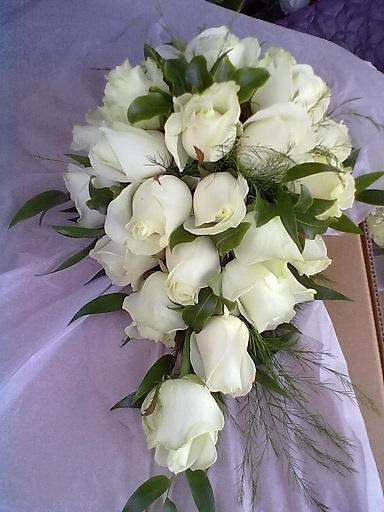 Flowers, Drop bouquet cream roses. Wedding packages available.
