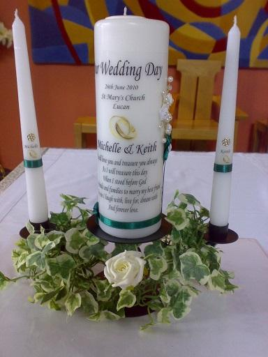 Flowers, Decorated candle holders. Wedding packages available.