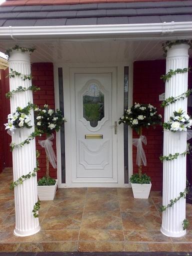 Flowers, Flower arrangement (pillars). Wedding packages available.