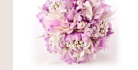 Flowers, Lilac feather Bridesmaids bouquet, with pearl brooches and white beeding. The handle is fin