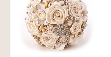 Flowers, Cream Rose Bouquet with Gold detail. Handmade satin roses with gold style brooches and pear