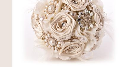 Flowers, Cream Rose Bouquet with Brooches. Handmade satin rose bouquet with brooches, lace and feath
