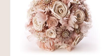 Flowers, Pink rose bouquet with handmade satin roses, feathers and vintage style brooches. The handl