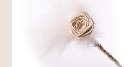 Flowers, Cream Rose Wand. Handmade rose with cream feathers. Wand covered in satin ribbon and finish