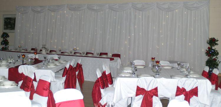 Decor & Styling, White chair covers and dark red sashes. Wedding flowers, church flowers, wedding ch