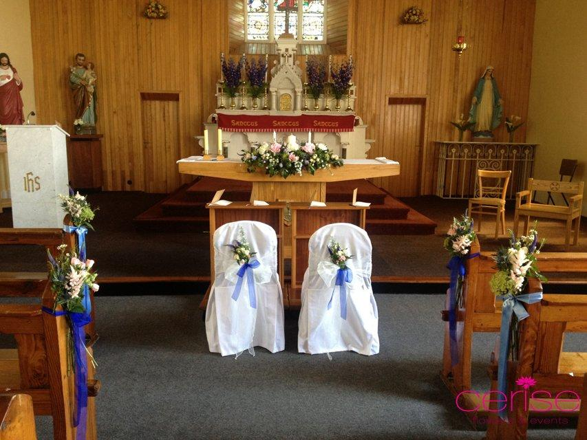 Flowers, Altar, chairs and pew ends flower arrangements. Services provided: wedding flowers, chairco