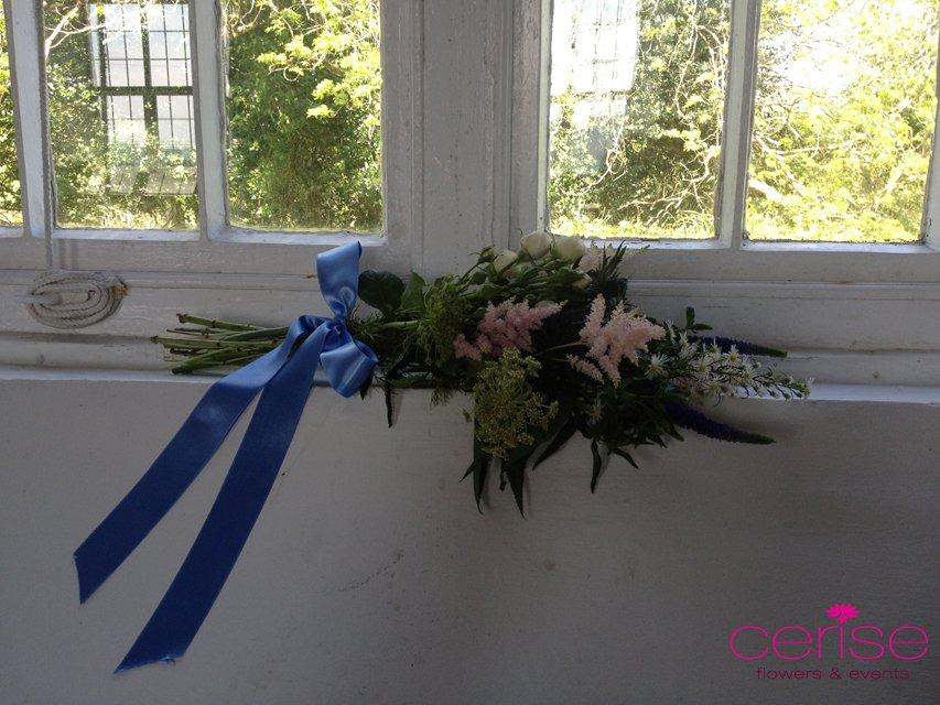 Flowers, Church window flower arrangement. Services provided: wedding flowers, chaircovers, table ce