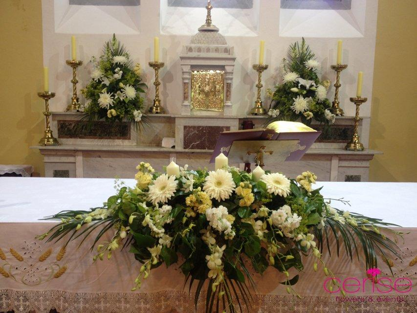 Flowers, Altar flower arrangements. Services provided: wedding flowers, chaircovers, table centrepie
