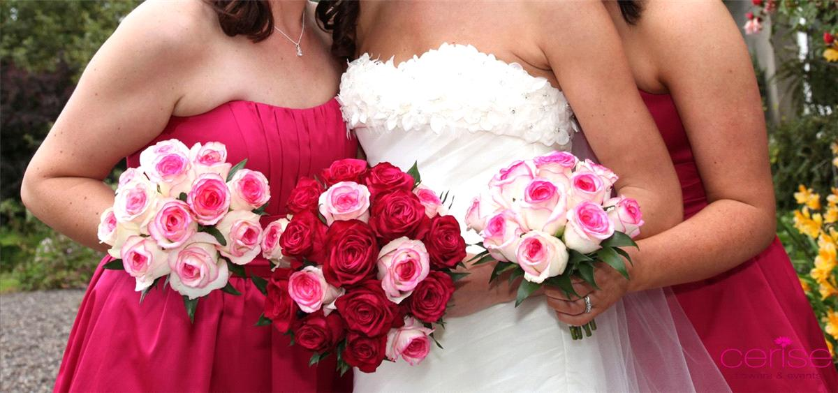 Flowers, Bride and bridesmaids bouquets. Services provided: wedding flowers, chaircovers, table cent